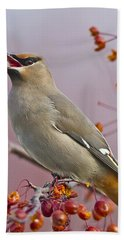 Bohemian Waxwing With Fruit Hand Towel