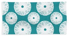 Boho Floral Blue And White Hand Towel