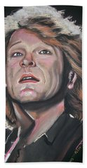 Hand Towel featuring the pastel Bon Jovi by Peter Suhocke