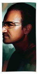 Bono U2 Artwork 1 Hand Towel by Sheraz A