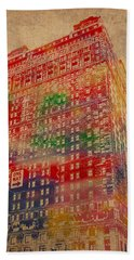 Book Cadillac Iconic Buildings Of Detroit Watercolor On Worn Canvas Series Number 3 Hand Towel