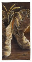 Boots And Wheat Hand Towel