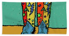 Boots On Teal Hand Towel