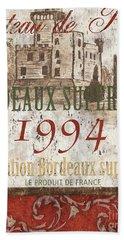 Bordeaux Blanc Label 2 Hand Towel by Debbie DeWitt