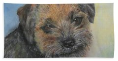 Hand Towel featuring the painting Border Terrier Jack by Richard James Digance