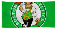 Boston Celtics Canvas Hand Towel by Dan Sproul
