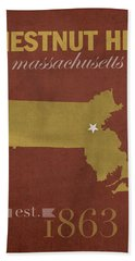 Boston College Eagles Chestnut Hill Massachusetts College Town State Map Poster Series No 020 Hand Towel