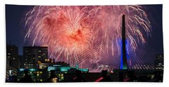 Bath Towel featuring the photograph Boston Fireworks 1 by Mike Ste Marie