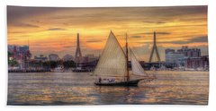 Boston Harbor Sunset Sail Bath Towel by Joann Vitali