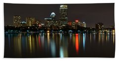 Boston Skyline By Night Hand Towel