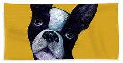 Boston Terrier On Yellow Hand Towel