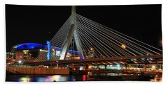 Hand Towel featuring the photograph Boston's Zakim-bunker Hill Bridge by Mitchell R Grosky