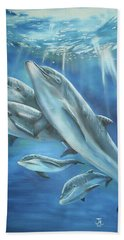 Bottlenose Dolphins Hand Towel by Thomas J Herring