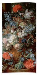 Bouquet Of Flowers In A Landscape Hand Towel