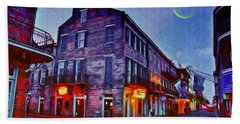 Bourbon Street - Crescent Moon Over The Crescent City Bath Towel