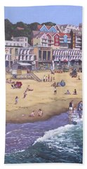 Bournemouth Boscombe Beach Sea Front Hand Towel by Martin Davey