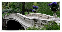 Bow Bridge Flower Pots - Central Park N Y C Hand Towel by Christiane Schulze Art And Photography