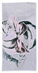 Bow Tie Kitty Hand Towel by Lisa Brandel