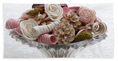 Bowl Of Potpourri On Lace Bath Towel by Connie Fox