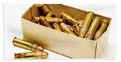 Box Of Bullets Isolated On White Bath Towel