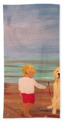 Boy And Dog Hand Towel
