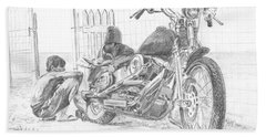 Boy And Motorcycle Hand Towel