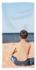Boy At The Beach Flying A Kite Hand Towel