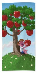 Hand Towel featuring the digital art Boy With Apple Tree by Martin Davey