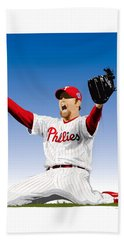 Brad Lidge Champion Hand Towel by Scott Weigner