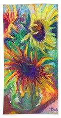 Brandy's Sunflowers - Still Life On Windowsill Hand Towel