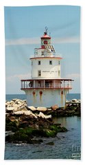Brandywine Shoal  Lighthouse Bath Towel by Nick Zelinsky