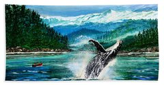 Hand Towel featuring the painting Breaching Humpback Whale by Patricia L Davidson