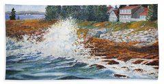 Hand Towel featuring the painting Breakers At Pemaquid by Roger Rockefeller