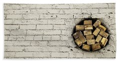 Hand Towel featuring the photograph Bricks In The Wall - Abstract by Steven Milner
