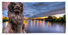 Bridge To Czech Village In Cedar Rapids At Sunset Hand Towel