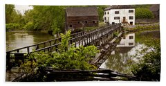 Bath Towel featuring the photograph Bridge To Philipsburg Manor Mill House by Jerry Cowart