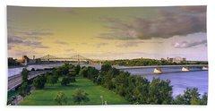 Bridges Across A River, Jacques Cartier Bath Towel