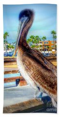 Brief Pelican Encounter  Bath Towel by Susan Garren