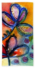 Bright Abstract Flowers Hand Towel