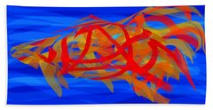 Bath Towel featuring the digital art Bright Fish In Blue Water by Stephanie Grant
