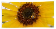 Hand Towel featuring the photograph Vibrant Bright Yellow Sunflower With Honey Bee  by Jerry Cowart
