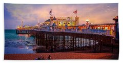 Hand Towel featuring the photograph Brighton's Palace Pier At Dusk by Chris Lord