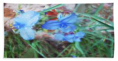 Bath Towel featuring the photograph Brilliant Blue Flowers by Cathy Anderson