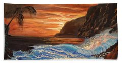 Hand Towel featuring the painting Brilliant Hawaiian Sunset 1 by Jenny Lee