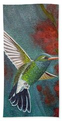 Bath Towel featuring the painting Broad-billed Hummingbird by Fran Brooks