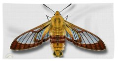 Broad-bordered Bee Hawk Moth Butterfly - Hemaris Fuciformis Naturalistic Painting -nettersheim Eifel Bath Towel