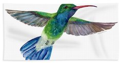 Broad Tailed Hummingbird Paintings Bath Towels