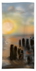 Hand Towel featuring the digital art Broken Dock by Christine Fournier