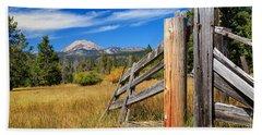 Broken Fence And Mount Lassen Bath Towel