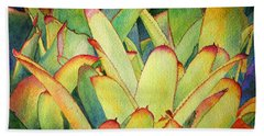Hand Towel featuring the painting Bromeliads I by Roger Rockefeller